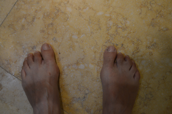 my feet after riding three weeks in the sun with sandals