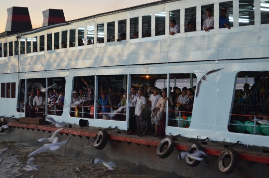 Ferry across the Yangon River to Dala