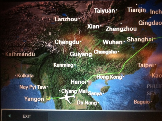 Korean airline flight Seoul to Yangon