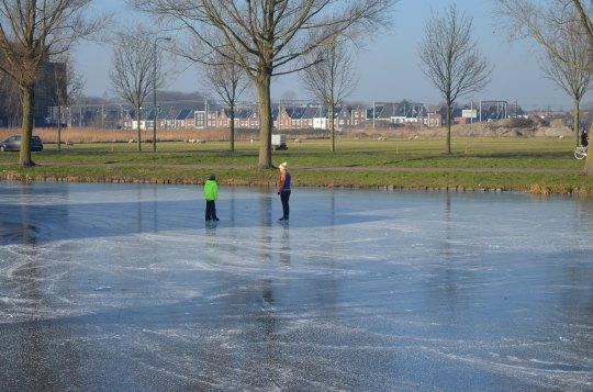 skating in front of our house here in Woerden
