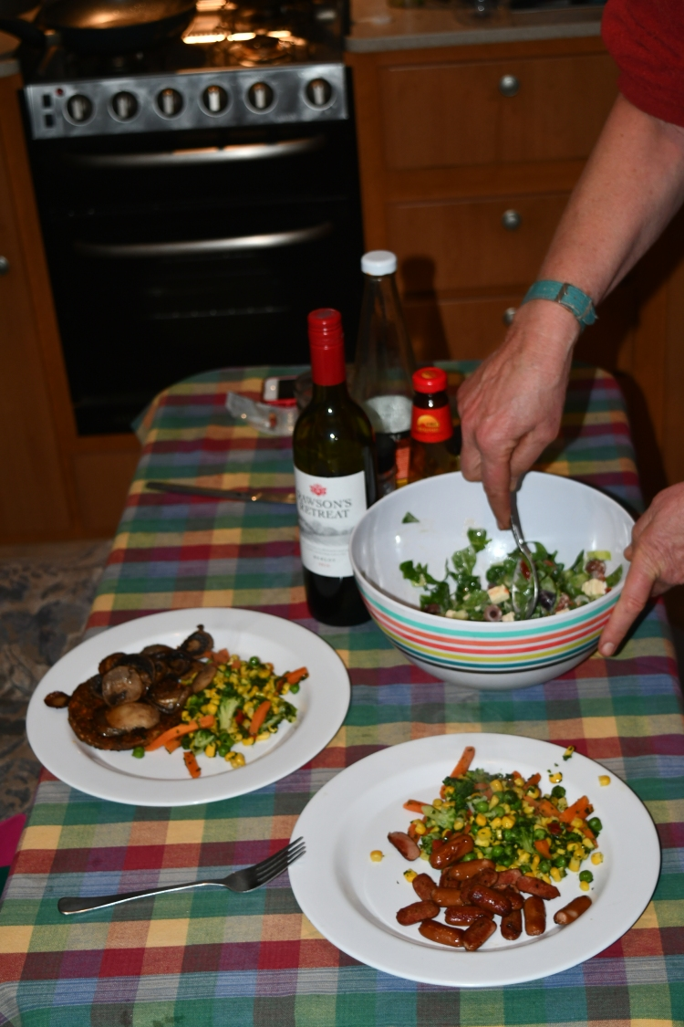evening meal; vegetarian on the left, roadkill on the right