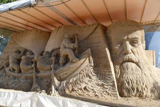 Warnemunde Harbour sand sculpture