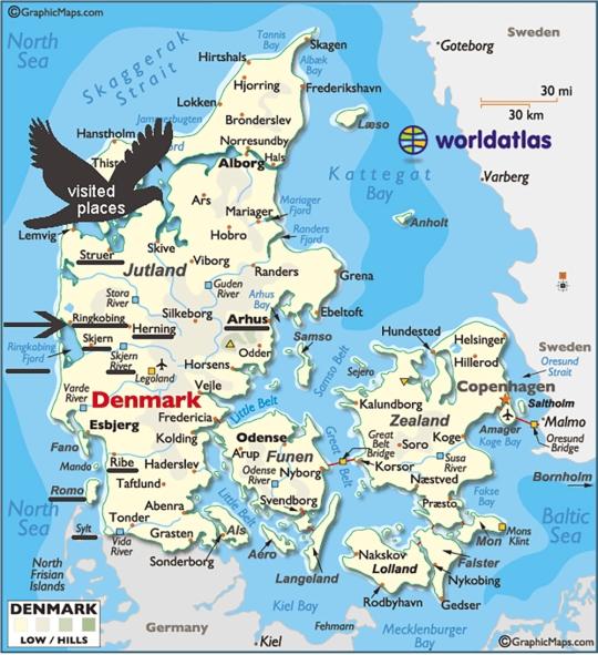 map of Jutland, Denmark