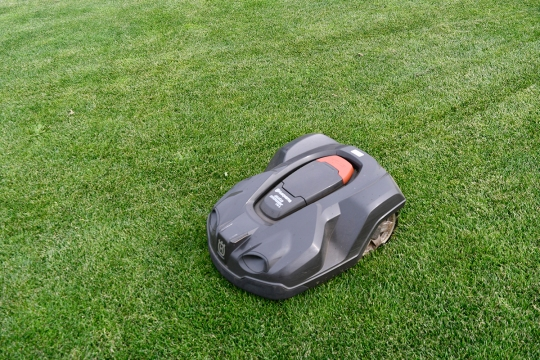 The Yanks have one that also removes snows - of course - https://www.forbes.com/sites/kevinmurnane/2016/10/15/heres-a-robot-that-will-mow-your-lawn-rake-your-leaves-and-shovel-your-snow/#7935251c710e
