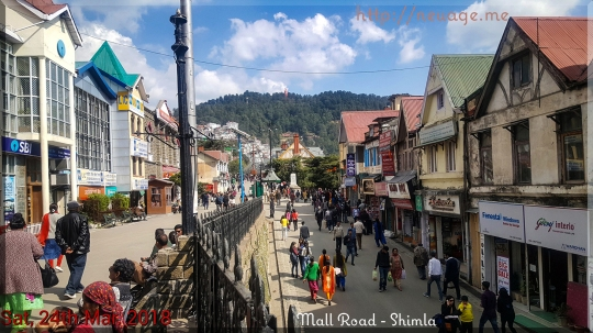 Mall Road - the main shopping area of Shimla. Walkable - no cars except emergency vehicles