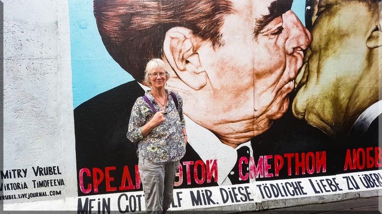 Communist dictators Leonid Brezhnev and Erich Honecker kissing