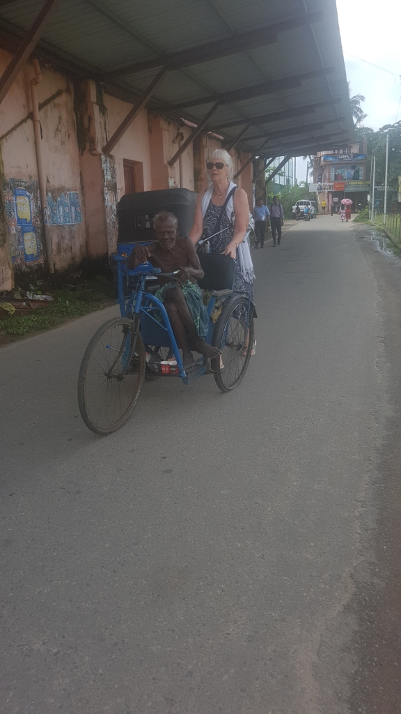 this man said he did not want money - just to be pushed to the bike repair shop nearby - so Narda pushed him there then he complained though we didn't know what... as he omitted saying what he wanted in English
