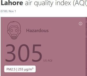 Lahore air quality index (255 ug/m3) 35 ug is consdered unsafe)