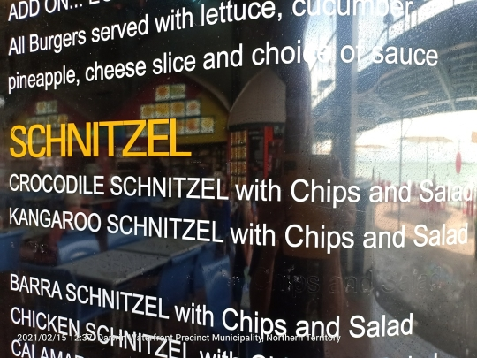 torn between crocodile schnitzel - Kangaroo schnitzel - Barra schnitzel: what's a vegetarian to do?