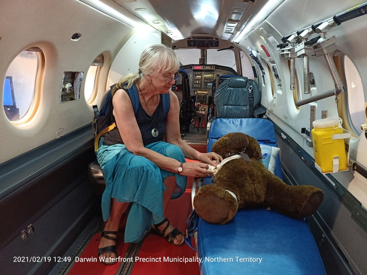 Narda attempts to save stuffed bear on operating table but it died before we could learn her name